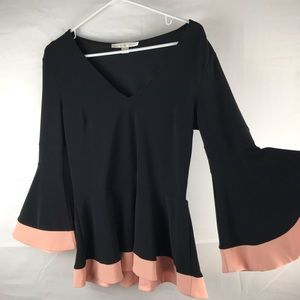 Boston Proper peplum bell sleeve blouse